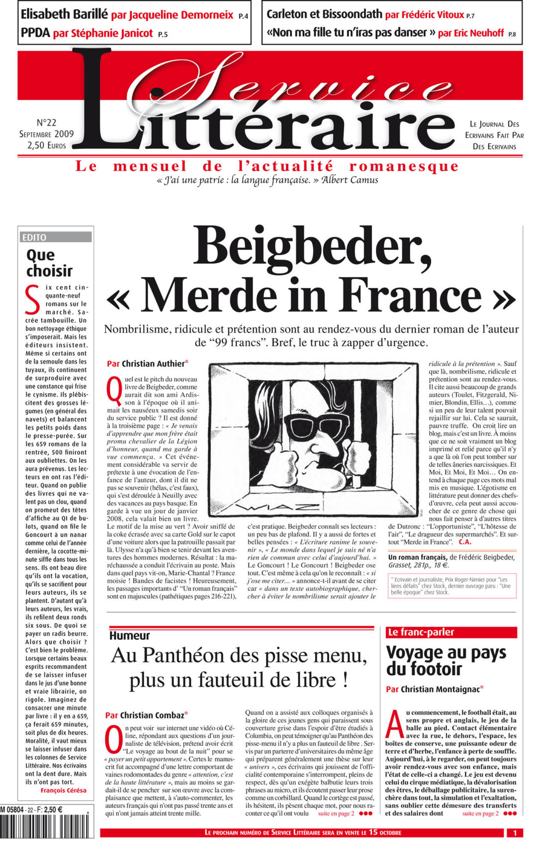 "Beigbeder, ""Merde in France"""