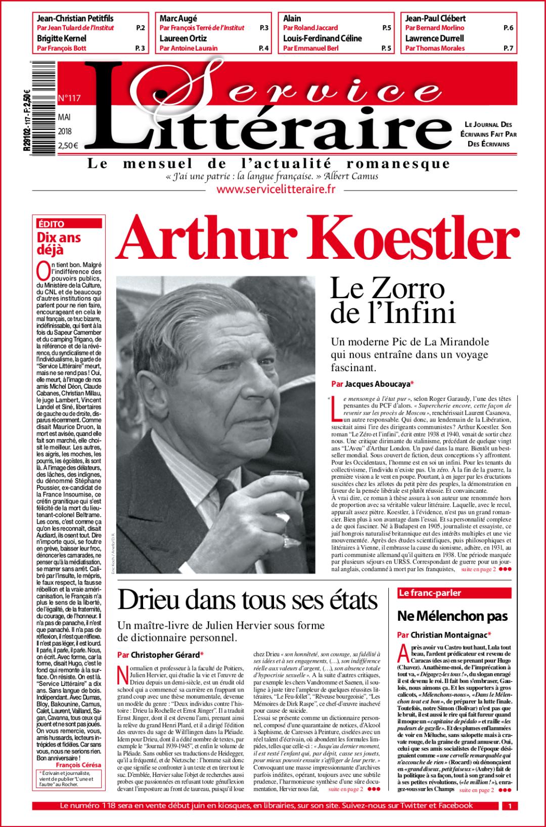 une_117 Mai 2018 Arthur Koestler
